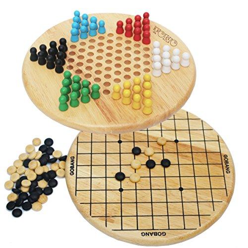 Toys of Wood Oxford Les Dames Chinoises Bois et Gobang (5 par rangée) - Jeu de société Familial 2 en 1 - Jeu de stratégie logique - Jeux de société Adulte en Bois et pour Enfants de 6 Ans