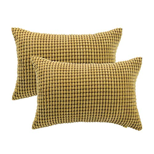 PICCOCASA Set of 2 Velvet Throw Cushion Covers Corn Corduroy Pillow Covers Case for Couch Bedroom Car Office Decoration 12' x 18' Yellow