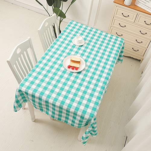 wangtiantian Mantel de cuadros rectangular para mesa de café, mantel de picnic, pastoral, hotel, cama y desayuno, mantel de mesa de 100 x 160 cm, verde militar, verde césped, cuadrícula blanca