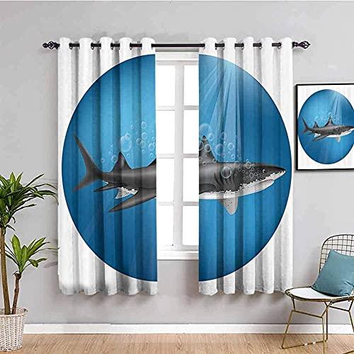 GJJHR Cortinas Cocina Cortinas en el Salon - Azul redondo mar tiburón - 280x240 cm - Cortinas para Habitacion para Dormitorio Juvenilpara Salón Dormitorio Moderna Ventana de Cocina