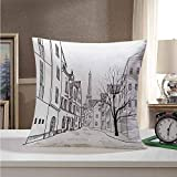 Throw Pillow Cityscape,Paris Street with Houses Buildings and Tree on Alleyway Eiffel Tower Background,Black White 26'x26',Soft and Breathable