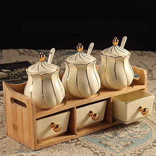 ZYNWW Porcelain Condiment Jar Spice Container with Lids - Porcelain Cap, Ceramic Serving Spoon, Wooden Tray - Best Pottery Cruet Pot for Your Home, Kitchen, Counter,260 ML,Set of 6.