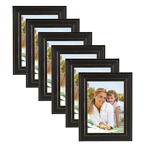 DesignOvation Kieva Solid Wood Picture Frames, Distressed Black 5x7, Pack of 6