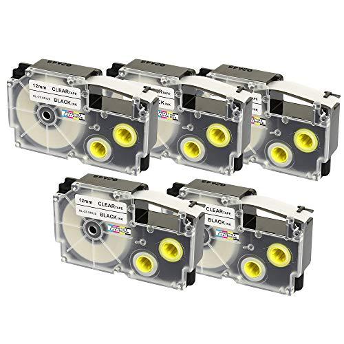 5 Cassettes XR-12X XR-12X1 nero su trasparente 12mm x 8m Nastri compatibili per Etichettatrice CasioKL-60 KL-100 KL-120 KL-200 KL-300 KL-750 KL-780 KL-820 KL-2000 KL-7000 KL-7200 KL-8100 CW-L300