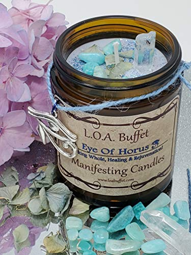 Rejuvenation & Healing Candle, Third Eye, Law Of Attraction, Eye of Horus, Hand Poured Soy Candle, Clear Quartz Crystal, Amazonite