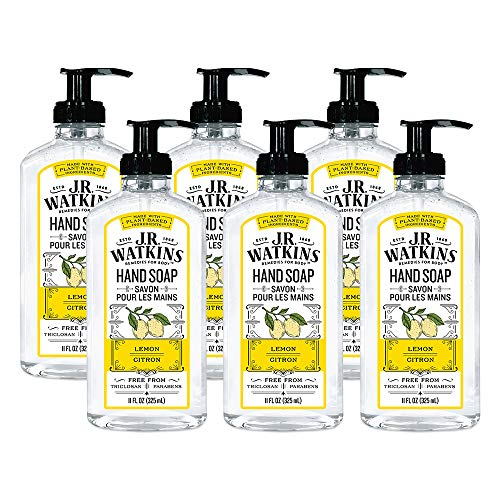 JR Watkins Gel Hand Soap, Lemon, 6 Pack, Scented Liquid Hand Wash for Bathroom or  Kitchen, USA Made and Cruelty Free, 11 fl oz