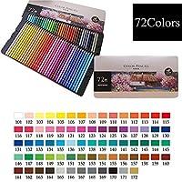 着色鉛筆、アーティスト、大人、子供向けのプロフェッショナルなマルチカラーの描画鉛筆、鮮やかな色合いのシェード、カラーリング、ブレンド、スケッチ用,72 colors