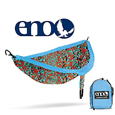 ENO, Eagles Nest Outfitters DoubleNest Print Lightweight Camping Hammock, 1 to 2 Person, Geo/Orange