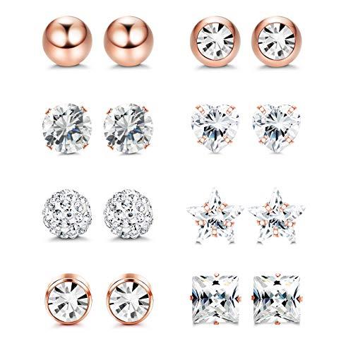 YADOCA 8 pares 18G Aretes de acero inoxidable Pendientes de cartílago tragus Labret Barbell Ball Studs CZ Helix Tragus Set de joyas para piercing para mujeres niñas