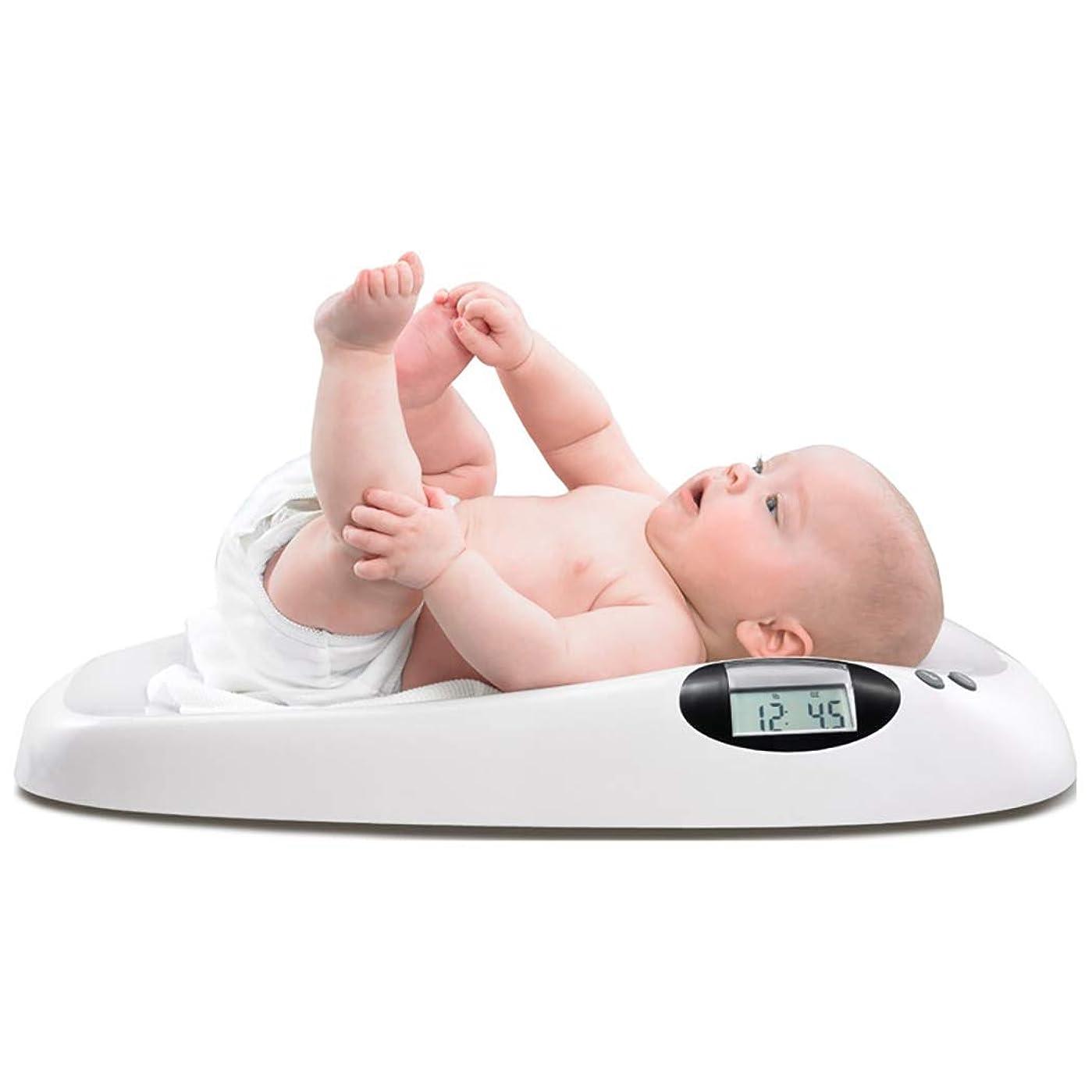 金属生ロック解除HSBAIS デジタルベビースケール、音楽付きマルチファンクションエレクトロニック新生児体重計、最大容量20 kg / 44ポンド、プレシジョン10g,white