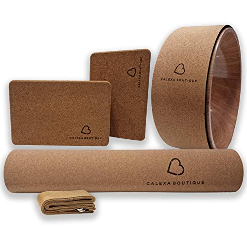 Calexa Boutique Cork Yoga Mat and Complete Set of Props - Complete Yoga Starter Bundle,...