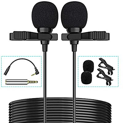 Premium 16 Feet Dual-Head Lavalier Microphone, Professional Lapel Clip-on Omnidirectional Condenser Mic for Apple iPhone,Android,PC,Recording YouTube,Interview,Video Conference,Podcast