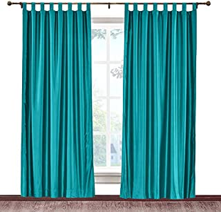 cololeaf Vintage Textured Faux Dupioni Silk Curtain Tab Top for Traverse Rod Or Track, Living Room Bedroom Meetingroom Club Theater Patio Door,Peacock 100W x 96L Inch (1 Panel)