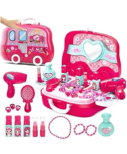 vikas gift gallery beauty make up case and cosmetic set suitcase with makeup accessories for children girls- Pink,Plastic,Pack of 1 set