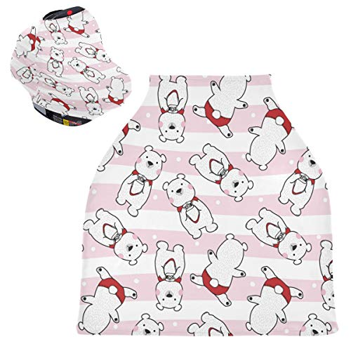 Sinestour Fundas para asiento de coche de bebé con diseño de animales de dibujos animados - 4 en 1 cubierta de enfermería, toldo multiusos para asiento de coche, para recién nacidos