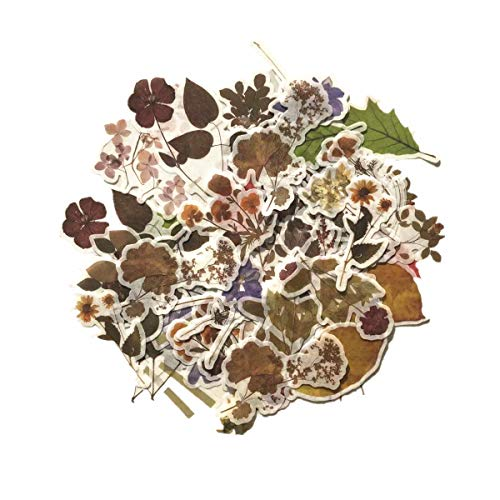 Vintage Forest Falling Flower Leaf Washi Sticker Pack | Artsy Multi Color Floral Decals | Retro Natural Autumn Theme (Wild Flower with Leaves 120 Pieces)