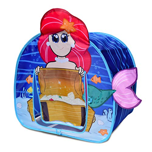 Sunny Days Entertainment Mermaid Adventure Pop Up Tent – Indoor Playhouse for Kids | Magic Undersea Treasure Toy for Kids | Assembly Free and Easy Storage