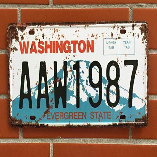 WE Placa de matrícula Estadounidense Carteles de Chapa Vintage Cartel de Chapa Decoración de Garaje Retro Placa de Metal para Barra y Dormitorio Placas de Hierro Decorativas 20x30cm cp21