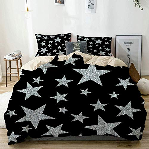 Juego de Funda nórdica Beige, Estrellas Plateadas en Negro, Juego de Cama Decorativo de 3 Piezas con 2 Fundas de Almohada