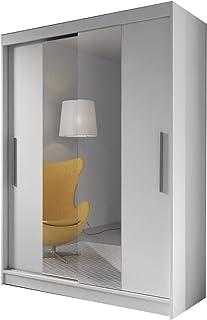 MEUBLO Armoire, Penderie avec 2 Portes coulissantes (L x H x P): 150x200x61 LARA 01 (Blanc)