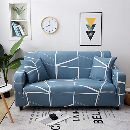 Stretch Couch Cover for 2 Seater (Free 1 pillow cases) Jacquard Sofa Cover for Living Room 1-Piece Universal Slipcover Spandex Furniture Covers for Sofa Protector Washable 145-185cm - Blue geometry