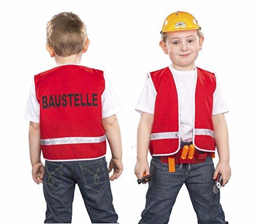 Kinder Kostüm Bauarbeiterweste für Kinder, Größe 104