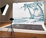 Fondo de vinilo para fotografía de playa de 15 x 10 pies, ilustración moderna de una playa tropical con palmeras y hamaca, fondo hawaiano para fondo de estudio de fotos, fondo de pared