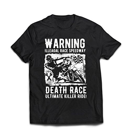 lepni.me Camisetas Hombre Carrera de la Muerte: Paseo definitivo, Carreras de Motos, Motorista de cráneo, clásico, Vintage, Moto Retro (X-Large Negro