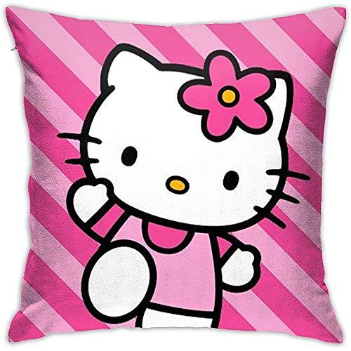 Fundas de cojín Hello Kitty Pink Stripes-Square Shape Funda de cojín Decorativo para sofá Sofá Juego de Almohadas