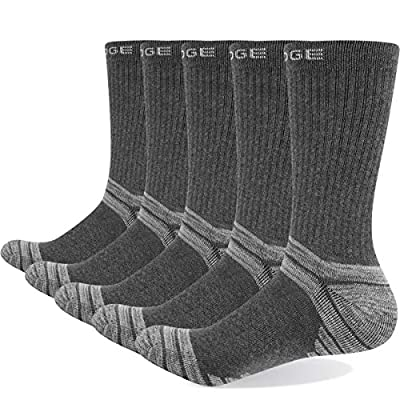 YUEDGE Men's Athletic Walking Hiking Socks Performance Combed Cotton Work Boot Cushion Crew Socks Men 5 Pack(Grey, Large)