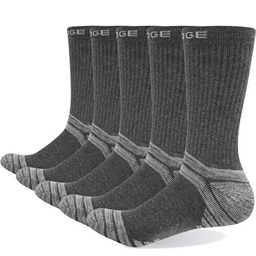 YUEDGE GiveGift Herren Wandersocken Trekkingsocken Gekämmte Baumwolle Atmungsaktiv Sportsocken Arbeitssocken Socken für Herren Grau 5 Paar L