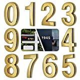 HopeWan 4 Inch Mailbox Numbers, Self Adhesive House Door Numbers for Apartment Office Hotel Room, Raised 3D Style, Gold Shining, East to Read.(4' 10 Pack (0-9), Brass)