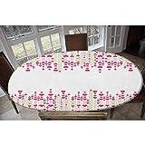 Love - Mantel ajustable de poliéster elástico, diseño de flores de San Valentín, con forma de corazón, para mesas de hasta 48 pulgadas de ancho x 68 pulgadas de largo