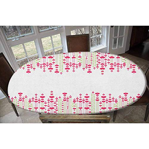 Love Elastic Polyester Fitted Table Cover,Heart Bouquet Plants Leaves Creativity Valentines Flowers Stylish Artwork Decorative Oblong/Oval Dinner Fitted Table Cloth,Fits Tables up to 48' W x 68' L