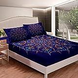 Juego de sábanas Boho Mandala estilo bohemio para niños, niñas y niños, diseño de mandala hippie impreso, sábana bajera ajustable, color azul suave, decoración para cama tamaño King