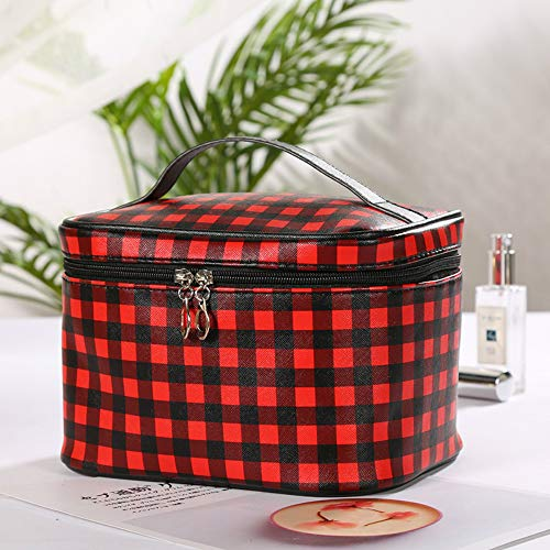 YOUYUANF Explosive Creative Plaid Cosmetic Bag PU Zipper Portable Storage Bag Couple Travel Wash Bag