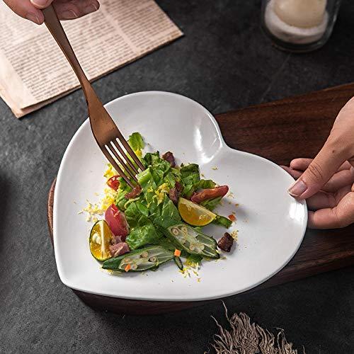 LANGPIG Herzförmiger Teller Frühstücksgeschirr im nordischen Stil Westlicher Teller mit rotem Herzteller-Mittelmattgrau