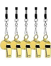 FineGood Loud metalen pijp met sleutelkoord, voor scheidsrechters, trainer, lifeguards en survivals, 5 stuks