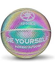 Houkiper Piłka do koszykówki Light Up, w oficjalnym rozmiarze, holograficzny odblask, do użytku wewnątrz i na zewnątrz