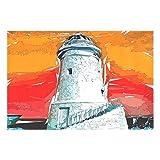 Manteles individuales Faro Sunset Art Painting Set de 6 manteles antideslizantes antideslizantes Manteles Decoración de la mesa de comedor 18x12 pulgadas