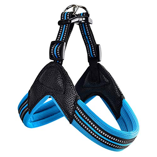 Dog Harness No Pull Ultra Soft Breathable Padded Pet Harness 2 Adjustable Botton, 3M Reflective Pet Harness for Dogs Easy Control for Small Medium Large Dogs (L, Blue)
