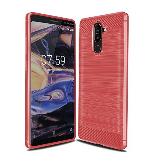 Cruzerlite Funda Nokia 7 Plus, Carbon Fiber Shock Absorption Slim Case for Nokia 7 Plus (Red)