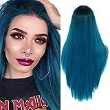 YMH PRIDE Pelucas largas y rectas de color negro a azul Ombre para mujeres Peluca de pelo sintético de parte media de aspecto natural con gorro de peluca(24 pulgadas)