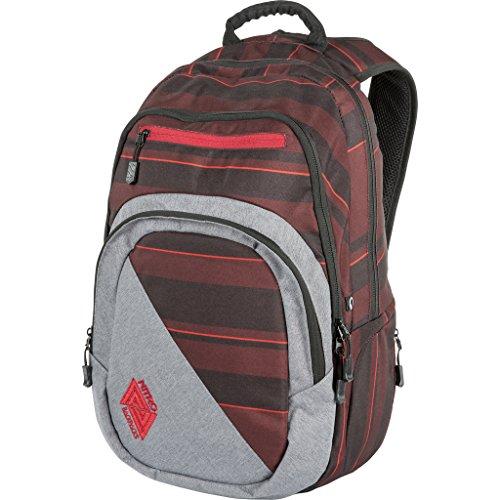 Nitro Stash Rucksack, Schulrucksack, Schoolbag, Daypack, Red Stripes, 49 x 32 x 22 cm, 29 L
