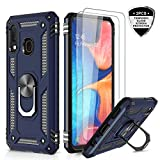 LeYi Samsung Galaxy A20/ A30 Case with Tempered Glass Screen Protector, [Military Grade] Magnetic Car Ring Holder Mount Kickstand Defender Protective Cover Phone Case for Samsung A20/ A30, JSFS Blue