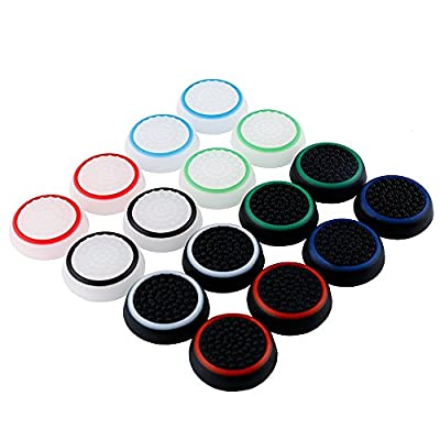 ElementDigital PlayStation 4 Thumbstick PS4 PS3 PS2 Xbox One/360 Thumbstick Grips Cap, Replacement Parts Silicone Analog Thumb Stick Grips Cap Cover (Luminous16 PCS)
