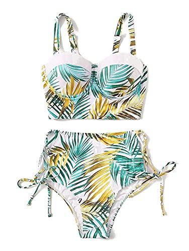 Aeromdale Bikini Set Dos Piezas Dejar Patrón Traje De Baño Para Mujer De Talle Alto, Traje De Baño De Playa - # A - M