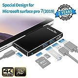 【Versione aggiornata】 Microsoft Surface Pro 7 Docking station hub, dock Surface pro 7 con porta HDMI 4K, porte USB 3.0 (5 Gps), porta USB C, lettore di schede SD / TF (Micro SD) per MS Pro 7 2019