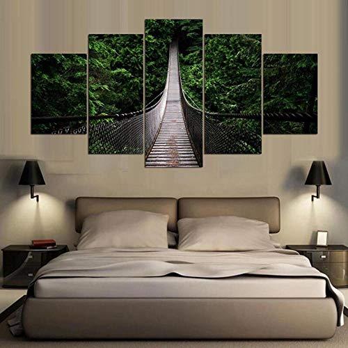 5 Piezas Material Tejido No Tejido Puente Colgante Forestal Cuadro En Lienzo Arte - Abstracto Impresión De(Sin Marco) 150Cmx80Cm