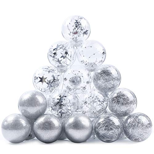 Joyjoz Christmas Ball Ornaments, Plastic Christmas Ball Ornaments Decorative Xmas Balls Baubles Set with Stuffed Delicate Decorations (24 Counts, Silver, 60mm/2.36Inch)